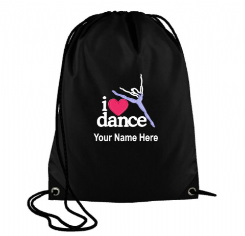 Personalised I LOVE DANCE Drawstring PE Swim Bag